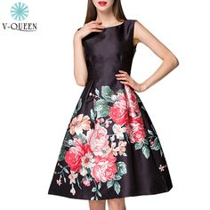 V-Queen New Spring Summer 2016 Women Fashion Party Dresses O-Neck Large Floral Print High Waist Pleated Tank Dresses B1602033