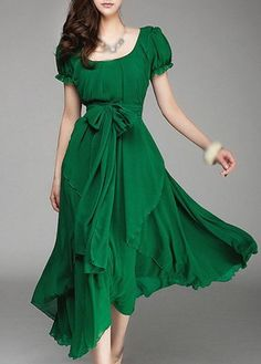 Belt Design Round Neck Short Sleeve Green Dress on sale only US$23.44 now, buy cheap Belt Design Round Neck Short Sleeve Green Dress at lulugal.com