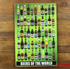 BEERS OF THE WORLD ! Tin Sign Bar pub home Wall Decor Retro Metal Art Poster