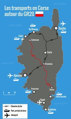 Gr20 transport Corsica, Blog Voyage, Trekking, Transportation, Places To Go, Map, Hiking, Travel, National Parks
