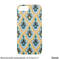 Moroccan arabic tracery pattern in blue and yellow