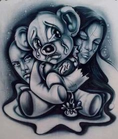 Gangster Drawings, Badass Drawings, Cool Art Drawings, Art Sketches, Graffiti Drawing, Chicano Art Tattoos, Chicano Drawings, Rosen Tattoo Frau, Aztecas Art