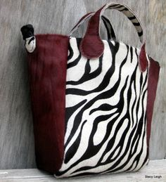 Hair On Cowhide Zebra Print Tote with Burgundy Accents by Stacy Leigh