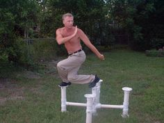 portable plum blossom poles project.  great for stance work and balance.