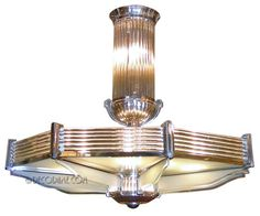 This is not contemporary - image from a gallery of vintage and/or antique objects. Grand French Art Deco Octagon Chandelier by Petitot Circa 1920's, France
