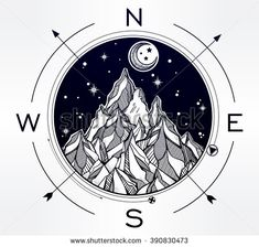 Hand drawn mountain wind rose compass. Tribal template in boho style.  Isolated Vector illustration. Invitation element. Tattoo, travel, adventure, meditation symbol. The great outdoors.
