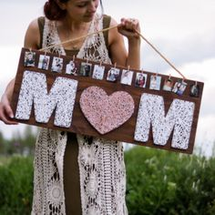 This DIY string art gift for Mother's Day from Lily Ardor is another lovely way to show off your memories! Easily personalize this string art sign with your favorite photos for a unique photo display that Mom will… – Pins Homemade Mothers Day Gifts, Diy Gifts For Mom, Presents For Mom, Mothers Day Crafts, Mothers Day Ideas, Mothers Day Signs, Mothers Day Decor, Creative Mother's Day Gifts, Signs For Mom