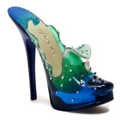 """Collectible 4"""" Miniature Shoe: EXTREME WAVE  #17310  --  Down under the sea it's a mystery to me how the mermaids dance amid the sparkling sea. Seafoam, cobalt, and various blue tones. Dance, oh Mother of Pearl, shine in your glory. Extreme Wave belongs to the Princess in this bedtime story."""