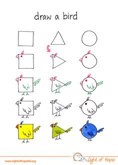 I'm an engineer and innovative content developer for children. I love creating contents using basic drawings that kids love. This is my series where I used basic shapes to teach children to draw different animals. Drawing Lessons For Kids, Art Drawings For Kids, Bird Drawings, Easy Drawings, Animal Drawings, Art Lessons, Art For Kids, Crafts For Kids, Drawing For Children