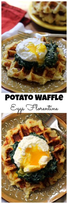 Potato waffle eggs florentine is brunch at its best! Waffles made from leftover mashed potatoes are topped with creamed spinach and a poached egg to make a meal to remember.