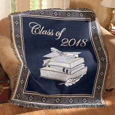 Personalized Flannel Tapestry Graduation Throw Blanket Grad Gift Throw Blanket