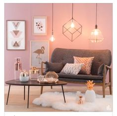 Pink and Grey Living Room Modern Decor Geometric Lighting Living Room Modern, Home And Living, Simple Living, Coastal Living, Home Design, Interior Design, Design Room, Interior Ideas, Deco Rose