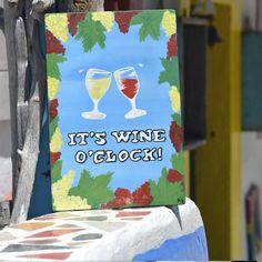"Acrylic Painting - Wood Sign - Funny Gift – ""I'ts wine o'clock""- Positive Decor - Positive Gift"