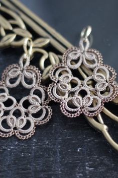 Made to order Tatting Earrings, Tatting Jewelry, Lace Earrings, Lace Jewelry, Crochet Doily Patterns, Granny Square Crochet Pattern, Tatting Patterns, Doilies Crochet, Needle Tatting