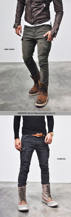 Bottoms :: Pants :: Vintage Oil Washed Slim Pocket Cargo-Pants 47 - Mens Fashion Clothing For An Attractive Guy Look