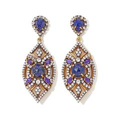 Facets Openwork Gemstone and CZ 2-Tone Earrings