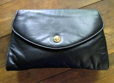 vintage black leather clutch bag $25