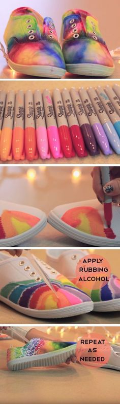Sharpies and rubbing alcohol to make dyed shoes (Diy Clothes For Summer)