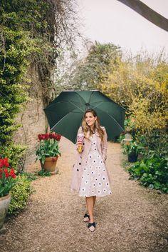 Gal Meets Glam Barnsley House - Burberry trench, Kate Spade dress, c/o, Kate Spade flats, Chanel bag, and Ahlem Sunglasses