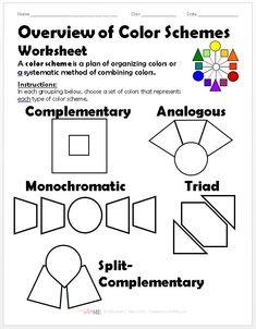 BUNDLED 5 Color Schemes Worksheets PACKET in 2019