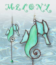 Hand Made Stained Glass Seahorse Fan Pulls by lizardkey on Etsy Mosaic Glass, Glass Art, Fused Glass, Glass Ceiling, Glass Lamps, Turtle Habitat, Ceiling Fan Pulls, Making Stained Glass, Tiny Turtle