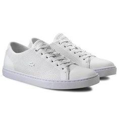 Adidasi albi Lacoste dama din piele cu perforatii Lacoste, Converse, Adidas, Sneakers, Shoes, Fashion, Tennis, Moda, Slippers