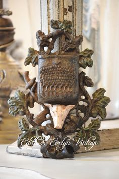 Antique Cast Iron Match Holder with Pig Head by edithandevelyn on Etsy