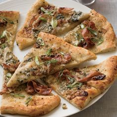Todd English: Fig-and-Prosciutto Flatbread with sticky-sweet fig jam, pungent Gorgonzola