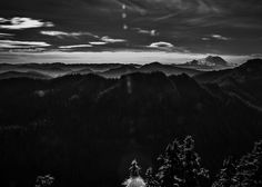 Mount Rainier with Rolling Hills A black and white shot of Mount Rainier with rolling hills as seen from Mount Catherine. black white Mount Rainier rolling hills Catherine