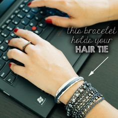 Carry a hair elastic on your wrist in a way that's elegant and versatile whether you are heading to work, dressing up, or working out! Get your Bittersweet hair tie bracelet by Maria Shireen.