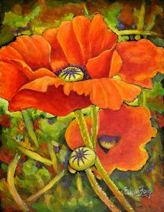 I Love Poppies Painting