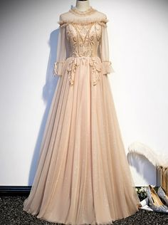 Tulle High Neck Long Sleeve Beading Prom Dress Evening Dresses, Prom Dresses, Formal Dresses, Drawing Clothes, Different Fabrics, Dress Making, Beading, Tulle, Chiffon