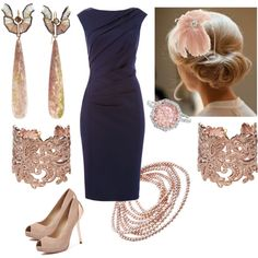 navy and rose gold Rose Gold Heels, Dressing, Navy, Shoe Bag, Formal Dresses, Wedding, Accessories, Shopping, Shoes