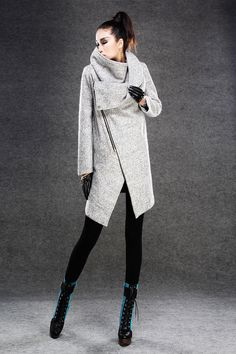 Modern Wool Gray Coat with Asymmetrical Front Zipper by YL1dress