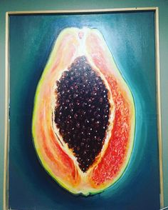 #Spotted: i fell in love with this painting. Hanging in #peaches in #Bedstuy.... #ifmypursewasbigger....#papaya #ripe #artgram
