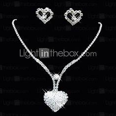 Sweet Alloy Silver Plated met strass bruiloft sieraden set (inclusief ketting, oorbellen) - EUR € 5.87