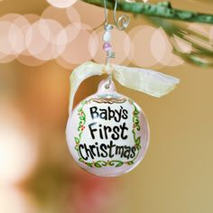 Baby's First Christmas -- precious porcelain ornament that will be an heirloom in the family. Personalize the back of the ornament with the baby's name or birthday. #GloryHaus