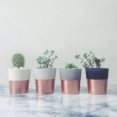 Copper Dipped Cement Pot More