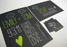green and black wedding invitations  so cute!