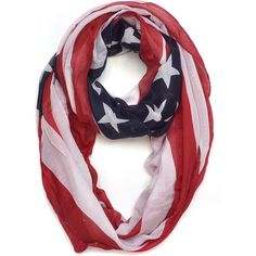 Dasein American Flag Colors Scarf ($22) ❤ liked on Polyvore featuring accessories, scarves, hats, oversized scarves, american flag shawl and american flag scarves