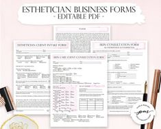 Esthetician Business Planner, Editable Esthetician Client Intake Form, Facials Esthetician Forms, Waiver Form and Consultation Form Business Planner, Salon Business, Business Ideas, Facial Esthetician, Medical Esthetician, Esthetics Room, Eyelash Technician, Facial Fillers, Consent Forms