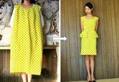That is quite a transformation - from Large Shift Dress to Cute Peplum Origami Dress! Get the DIY...