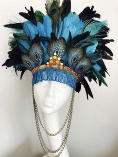 Luxury eacock feather festival headdress, peacock feather headdress, burning man headdress, festival tribal headdress, burning man headdress by feathersandthreaduk on Etsy