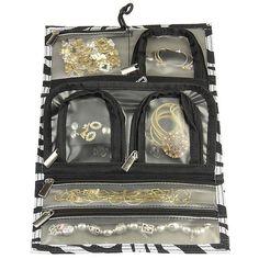 Clear Pocket Jewelry Roll Travel Jewelry Organizer Blue Paisley