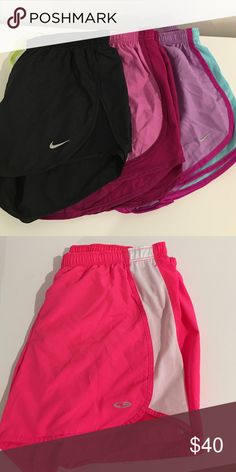 Nike running shorts and champion 3 pairs - Nike running shorts 1- pair champion running shorts. Items as bundle is a better deal but items also are sold separately!!! I can also create a new bundle upon request! Never worn Nike Shorts