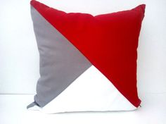 GeometricThrow Pillow Cover, Cushion in Red, White and Grey, Free Shipping