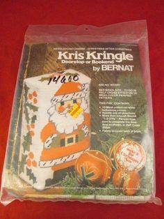 Kris Kringle Needlepoint Doorstop Bookend kit Bernat WN3051 retired 1976 NIP!! #Bernat