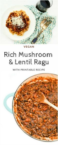 A rich mushroom and lentil ragu served with tagliatelle the Italian way. An easy… A rich mushroom and lentil ragu served with tagliatelle the Italian way. An easy your family and friends will love. Suitable for vegetarians and vegans. Pastas Recipes, Veg Recipes, Vegetarian Recipes, Cooking Recipes, Healthy Recipes, Grill Recipes, Pulses Recipes, Budget Recipes, Gourmet