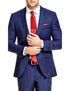 Men's Formal Blue End On End  Slim Fit Suit Jacket