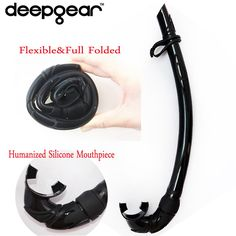 Black silicone diving snorkel flexable and folded snorkel tube top spearfishing and freediving snorkels adult snorkel gears #jewelry, #women, #men, #hats, #watches, #belts